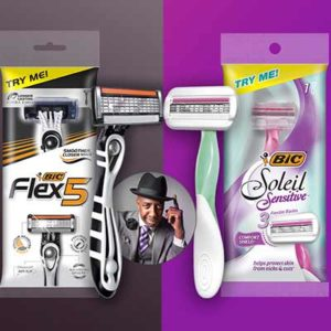 Free Men's Flex5 or Women's Soleil Sensitive BIC Razor