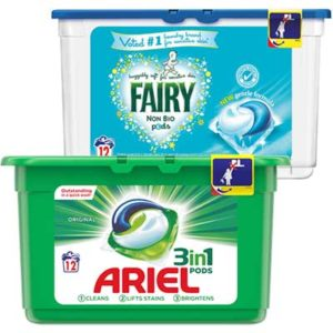 Free Ariel 3 in 1 or Fairy Non-Bio Pods
