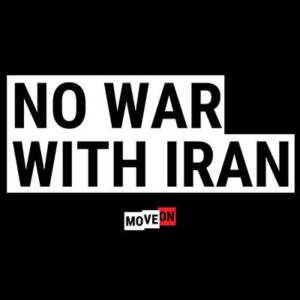 "Free ""No War With Iran"" Sticker"