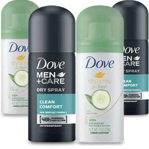Free Dove Dry Spray Antiperspirant Samples