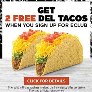 2 Free Tacos at Del Taco