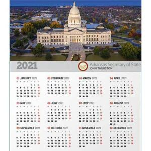 Free 2021 Arkansas Wall Calendar