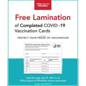 Free Lamination of Completed COVID-19 Vaccination Cards