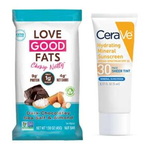 Free CeraVe Hydrating Mineral Sunscreen and Love Good Fats Nutty bar