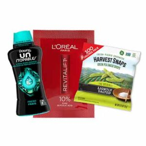 Free L`Oreal Paris Gycolic Acid Serum, Downy Unstopables In-Wash Scent Boosters and Harvest Snaps Green Pea Snack Crisps