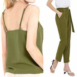Free Camisole Sleeveless Tank Tops And Cropped Paper Bag Waist Pants