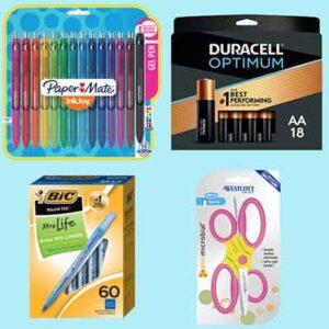 Free PaperMate Flair Pens, BIC Ballpoint Pens, Westcott Scissors and Duracell Optimum AA/AAA Alkaline Batteries
